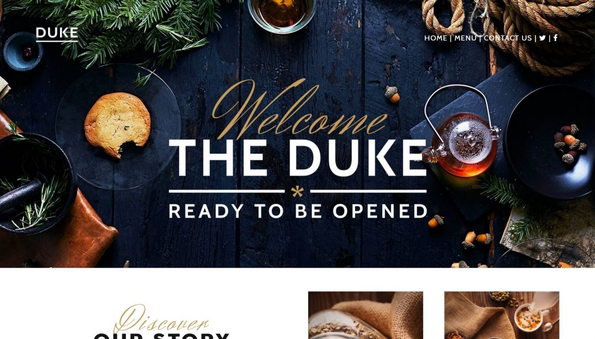 Website designed for The Duke restaurant